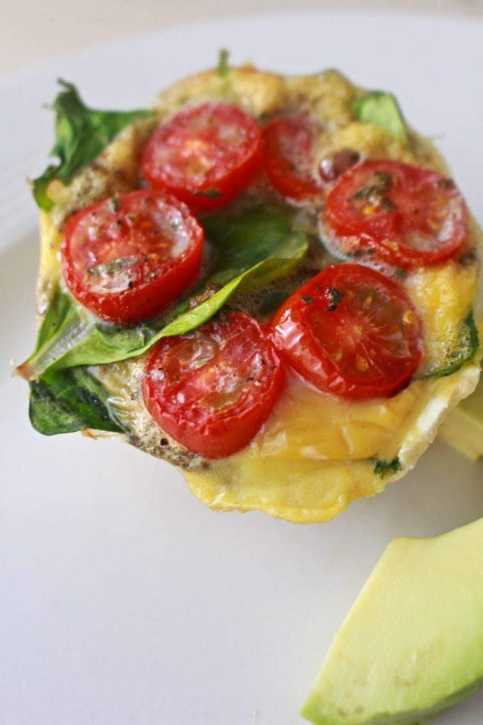 Spinach and Tomato Frittata. Delicous for breakfast and healthy too.