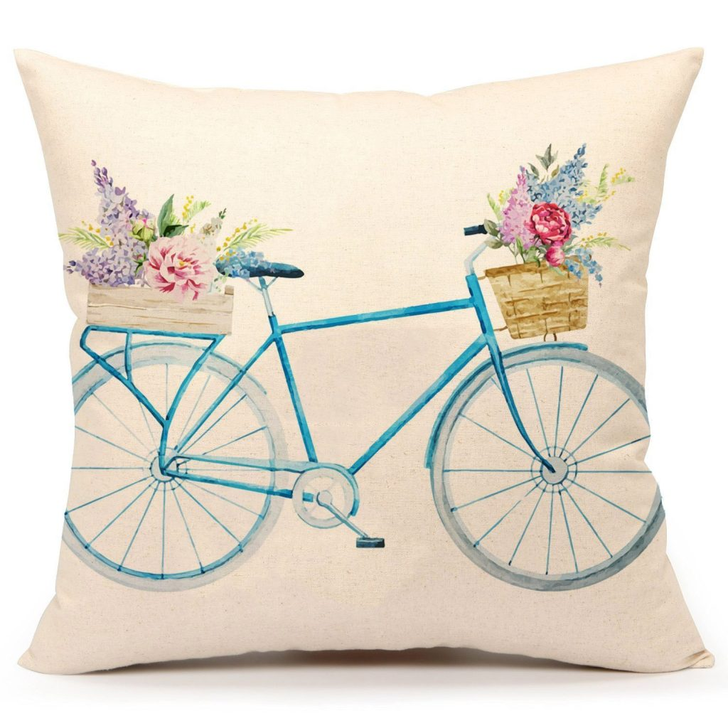 Bicycle Floral Pillow