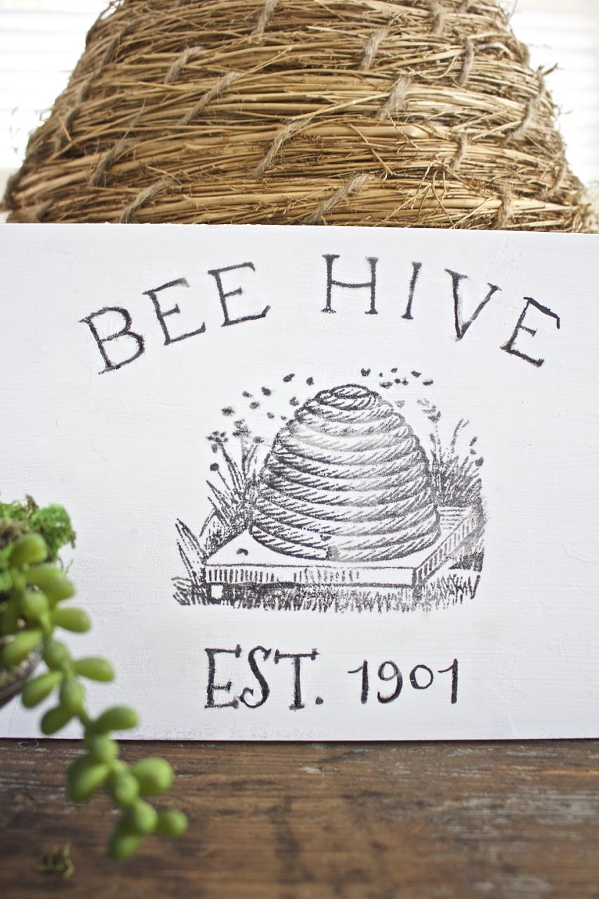 DIY Bee Hive Sign. Looks great paired with the bee skep