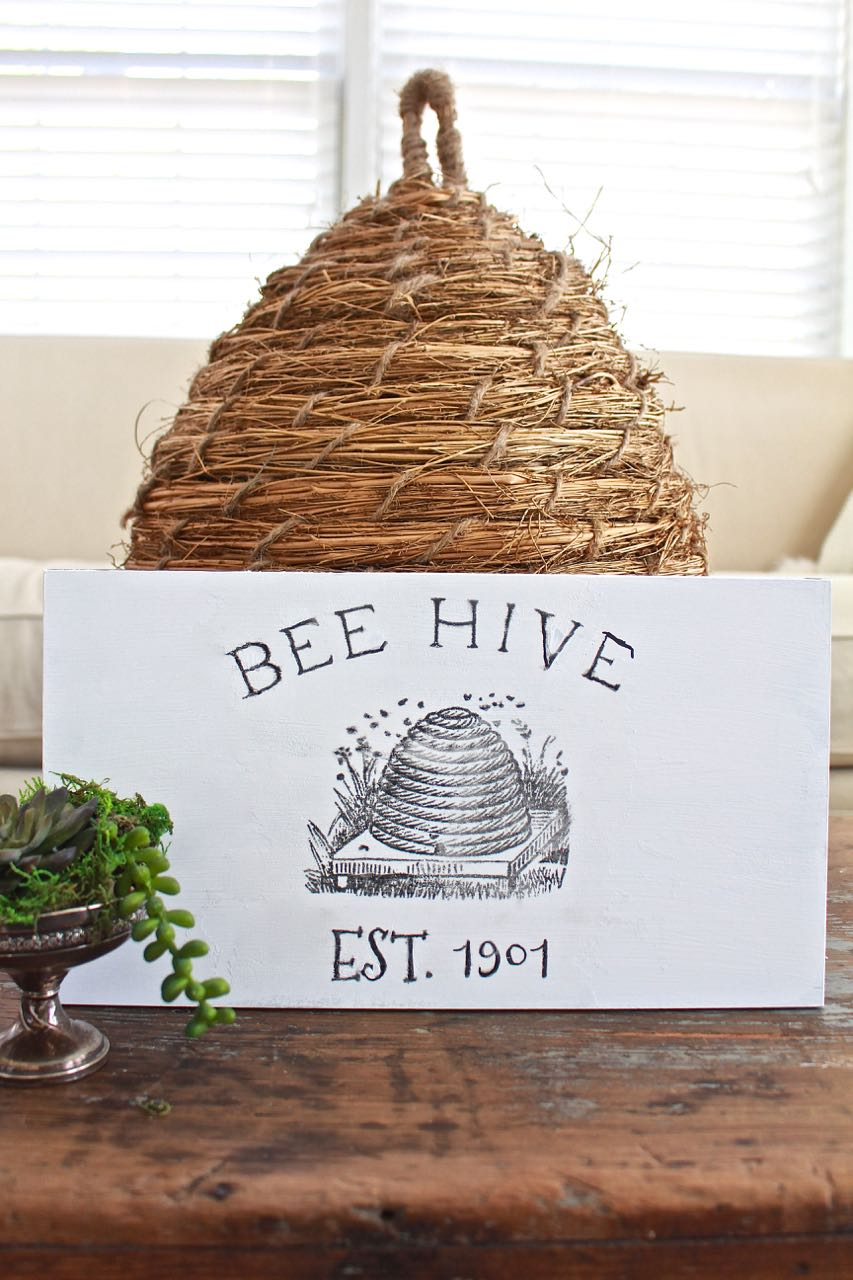 DIY Bee Hive Sign. Looks like a painted sign.