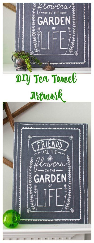 DIY Tea Towel Artwork. Easy and inexpensive.
