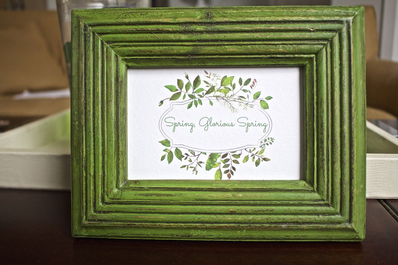 Free spring printable. Spring glorious spring. Green decor