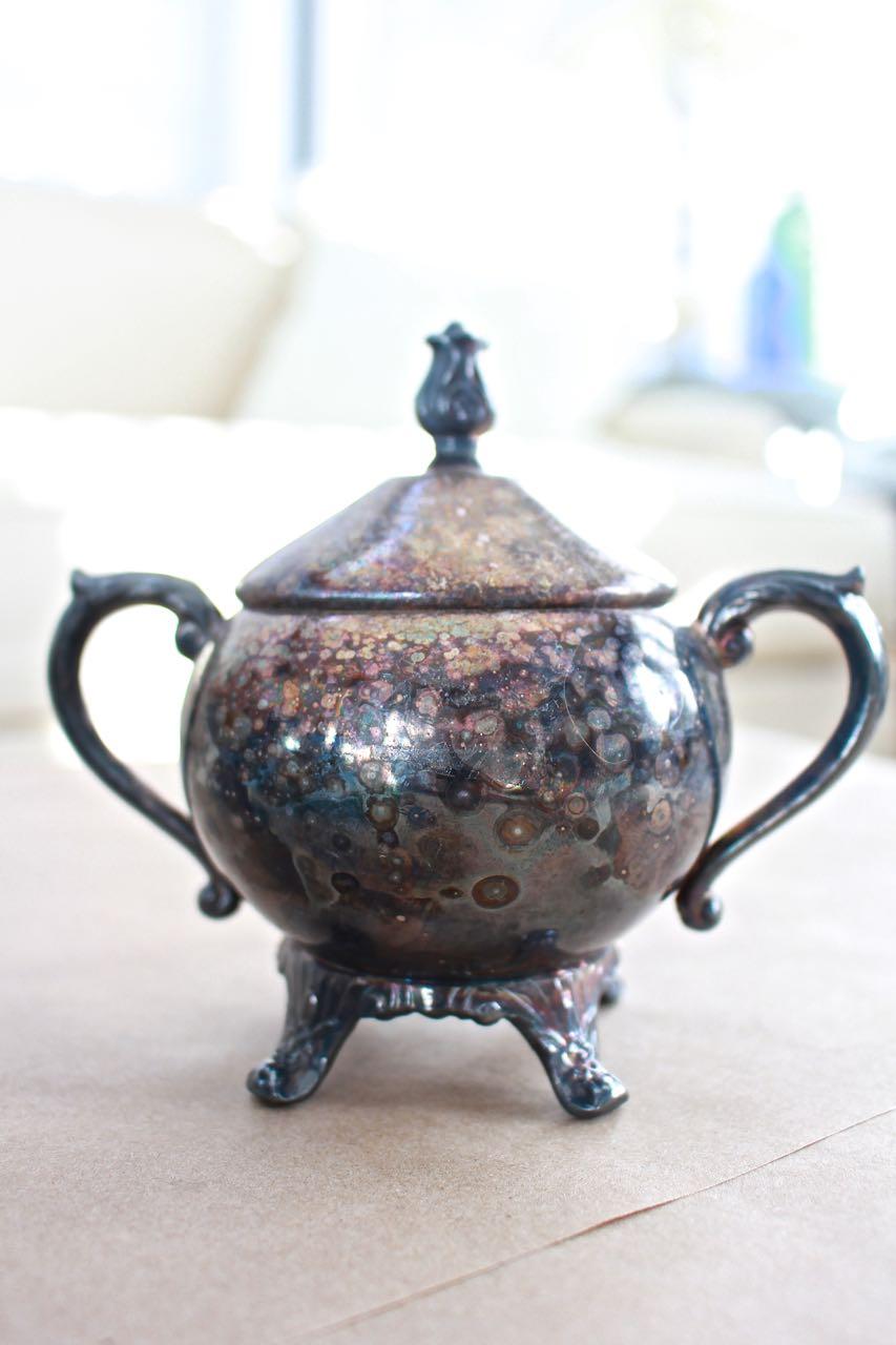 Sugar bowls with lids - Succulents In Vintage Silver Sugar Bowls
