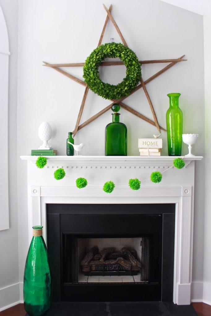 Spring Green Mantel Decor