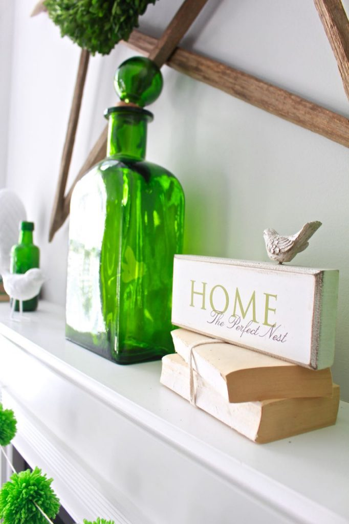 Spring Green Mantel Decor