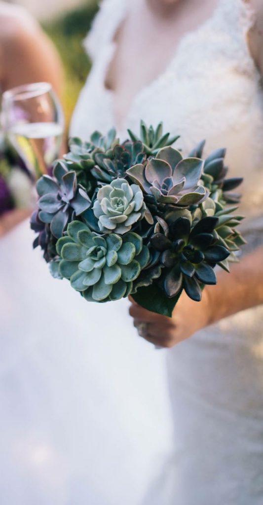 Succulents in Vintage Silver Sugar Bowls. Jenn's succulent bouquet
