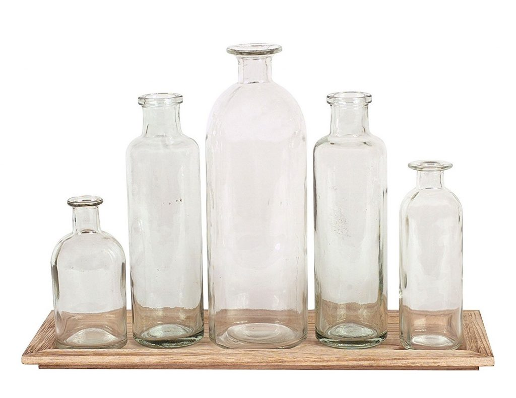 wooden tray with glass bottle vases