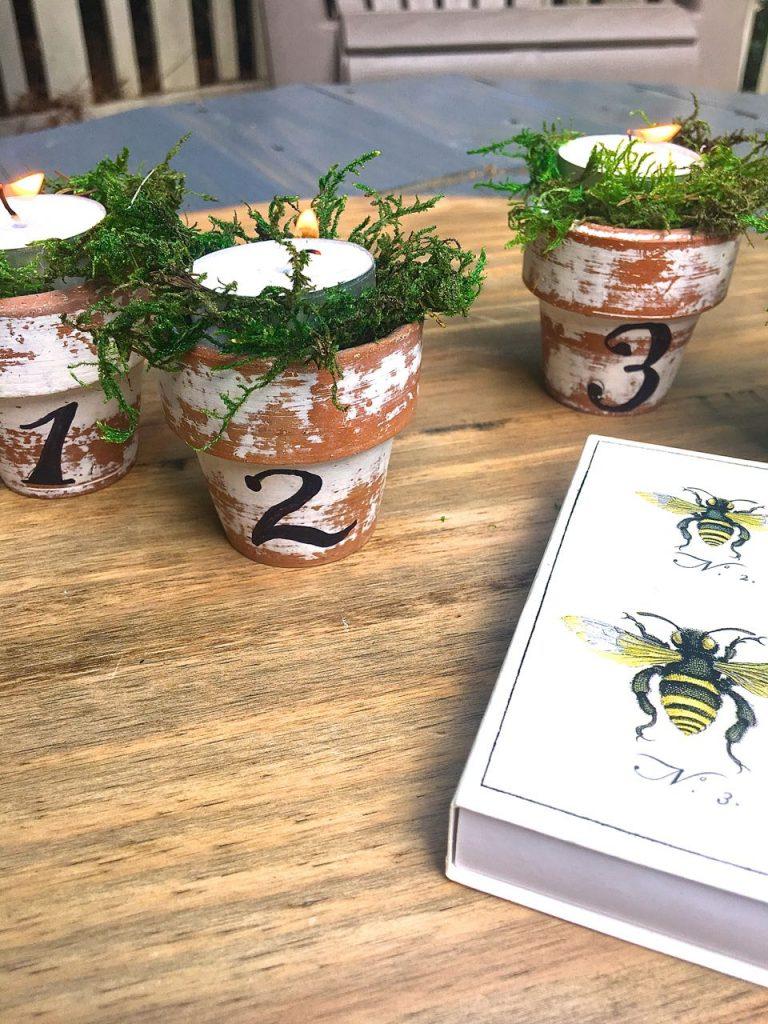 Citronella Candles in Mini Clay Pots. 2 Bees Matchbox.