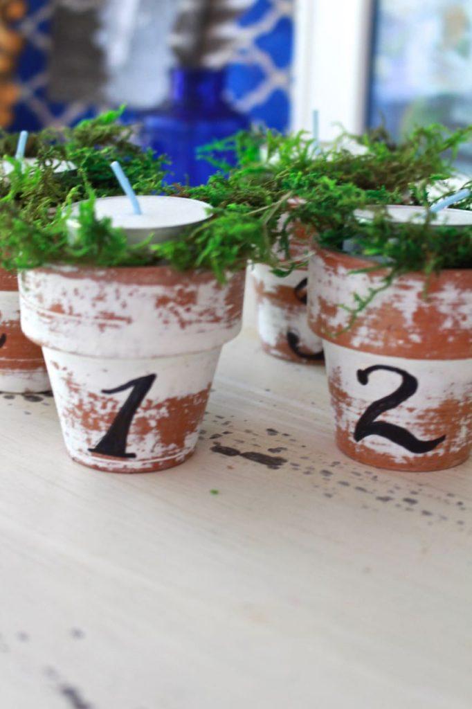 Citronella Candles in Mini Clay Pots. Citronella tea lits ready to go outside.