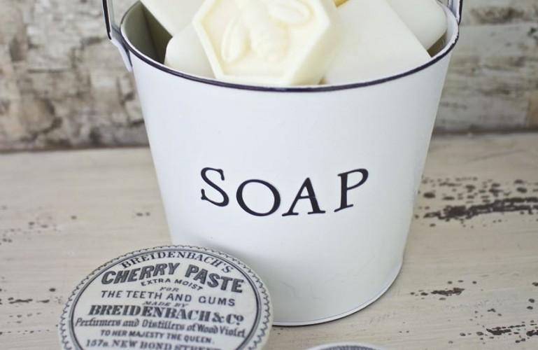 Faux Enamel Soap Dish. Antique apothecary jars.