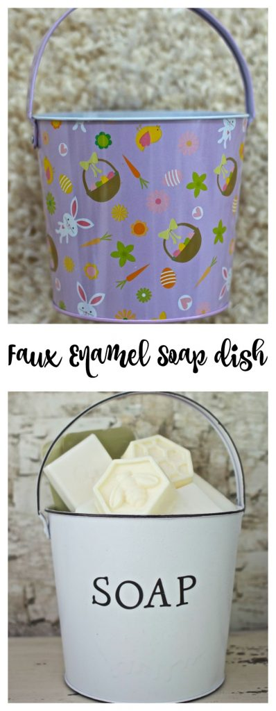 Faux Enamel Soap Dish. Before and After