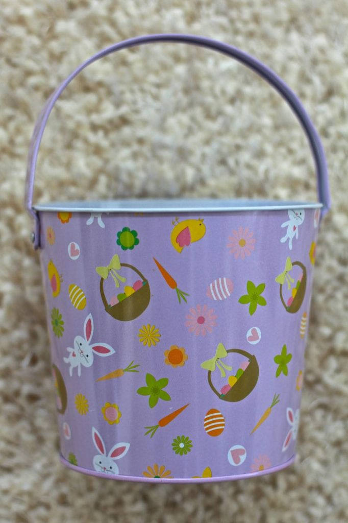 Faux Enamel Soap Dish. Metal Easter bucket is transformed to a enamel soap dish.