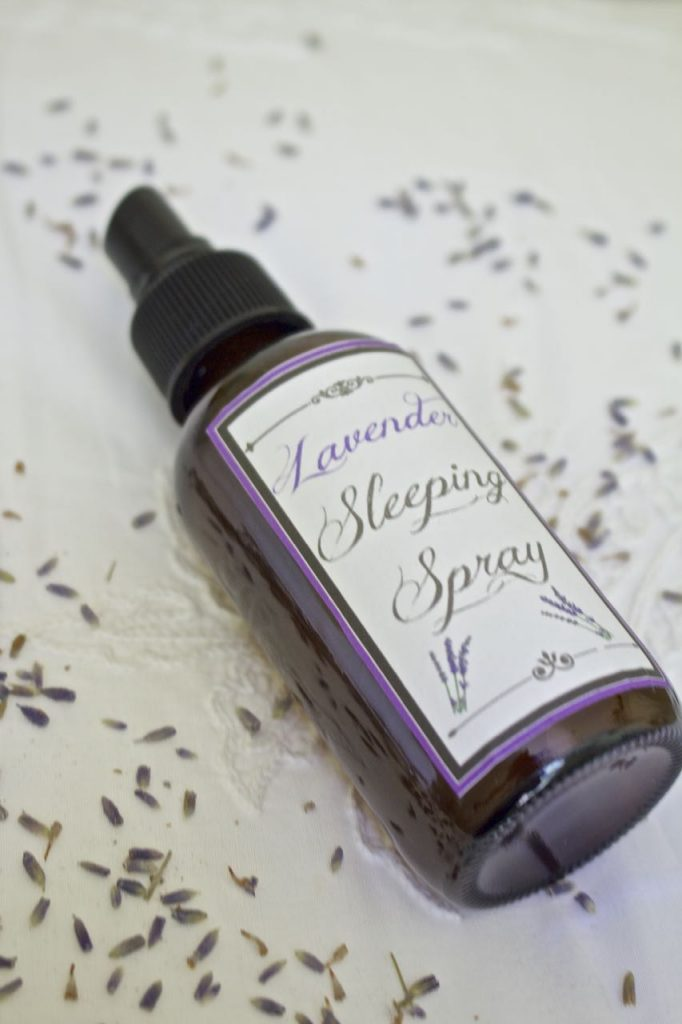 How to make soothing lavender sleeping spray. Mist lightly onto linens