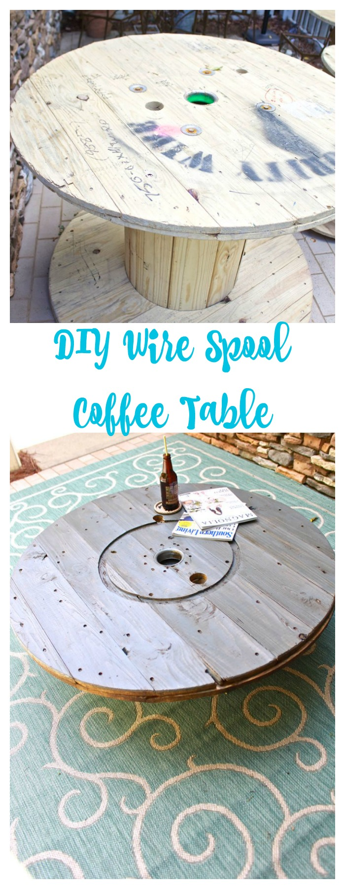 Wire spool diy coffee table 2 bees in a pod diy wire spool coffee table geotapseo Image collections