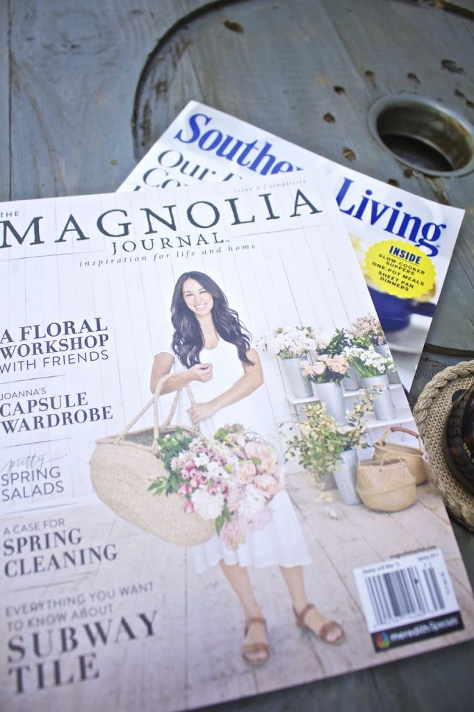 Wire Spool DIY Coffee Table. Favorite magazines to read on the front porch.