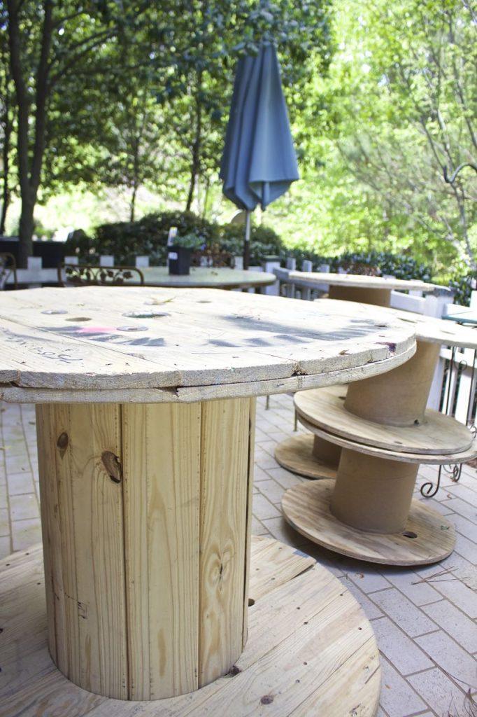 Wire Spool DIY Coffee Table. Raw wood wire spool.