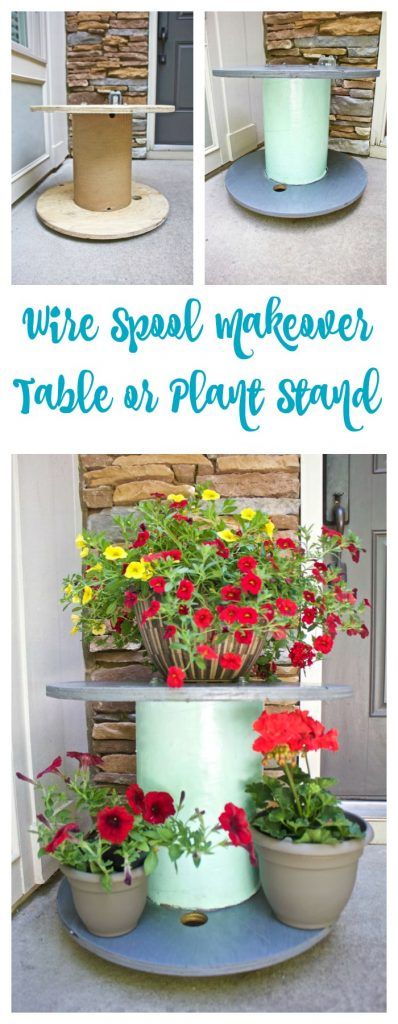 Wire Spool Table Plant Stand. Wire spool DIY makeover for table or plant stand.