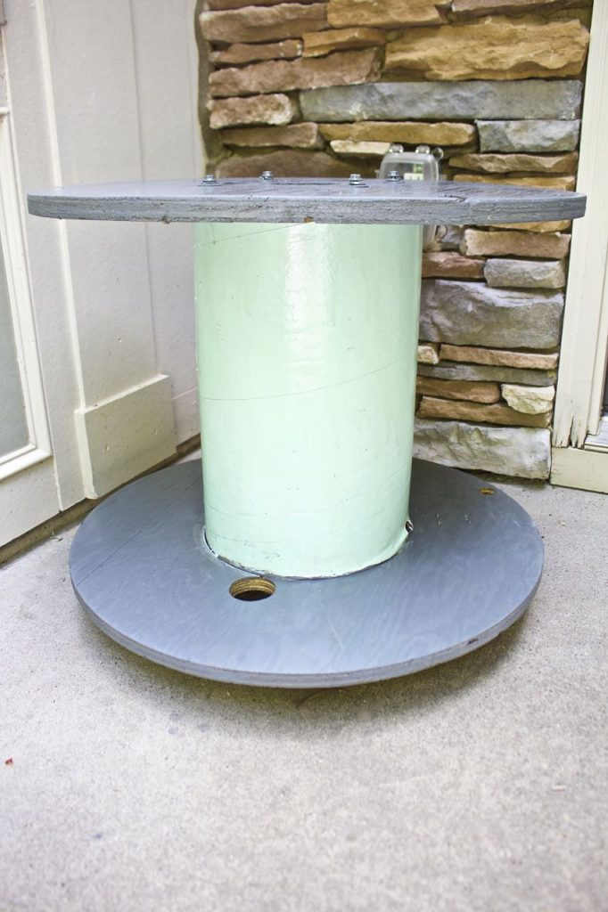 Wire Spool Table Plant Stand. Wire spool table makeover and ready for plants.