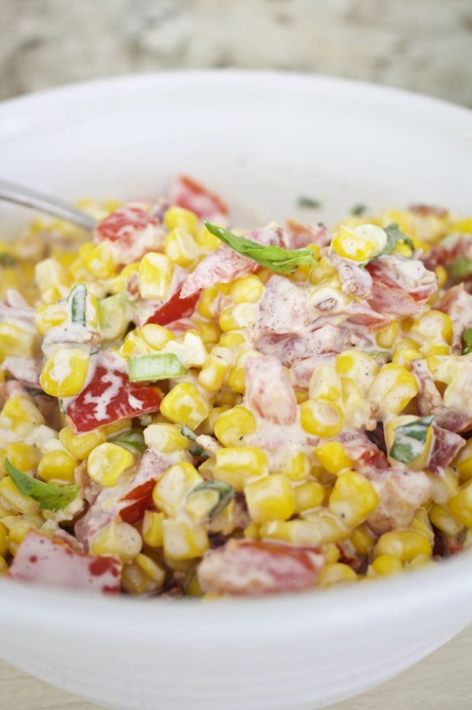 Creamy Corn Salad. Summer salad perfect for dinner or picnics.