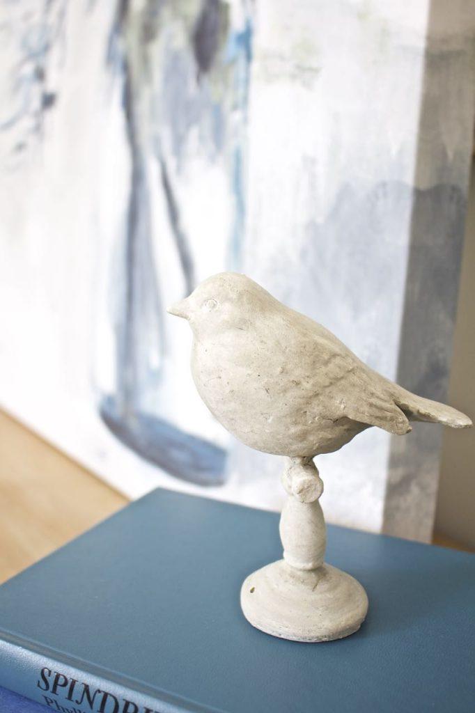 Entry Table Decor. Concrete Bird.