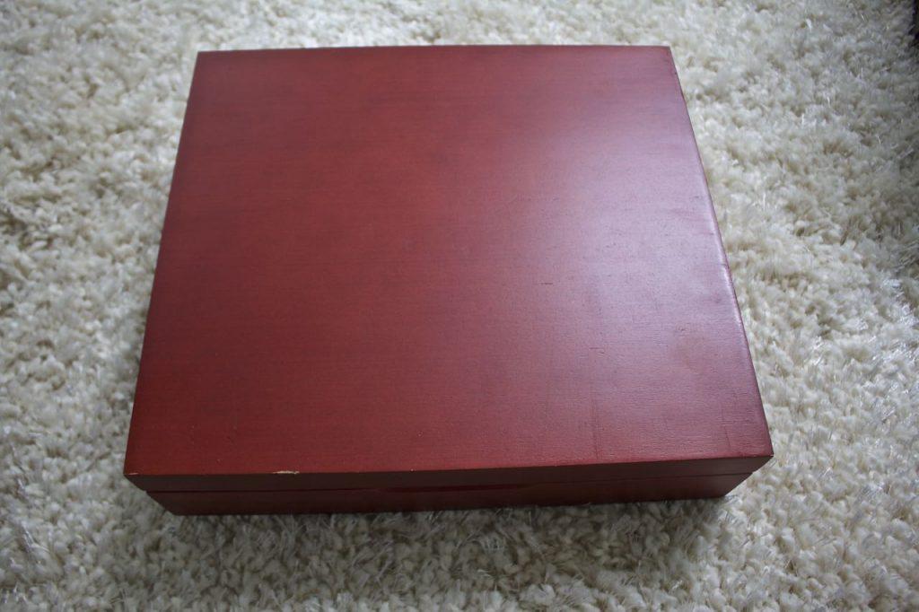 Flatware box makeover. The original finish of the box was very reddish.