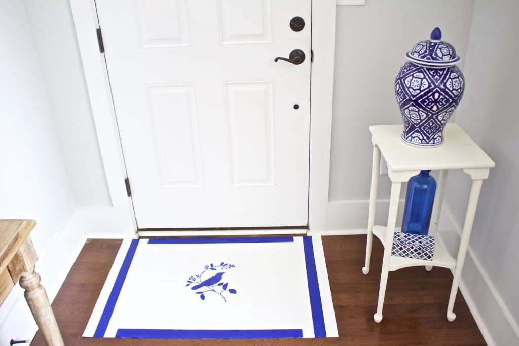 how to paint a rug using linoleum flooring. Painted Vinyl Floor Mat. Easy to make painted vinyl floor mat.