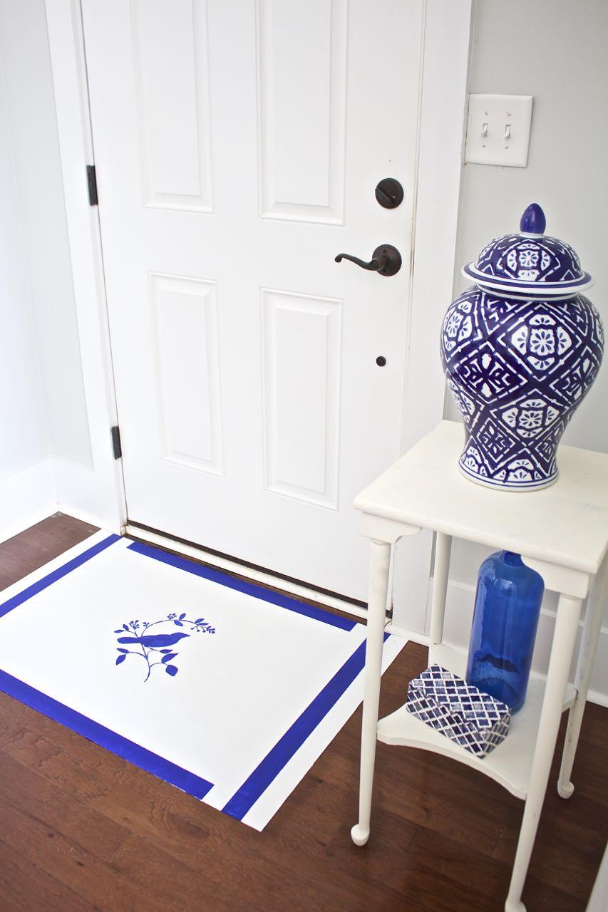 How To Paint A Rug Using Linoleum Flooring. Painted Vinyl Floor Mat. Making  A