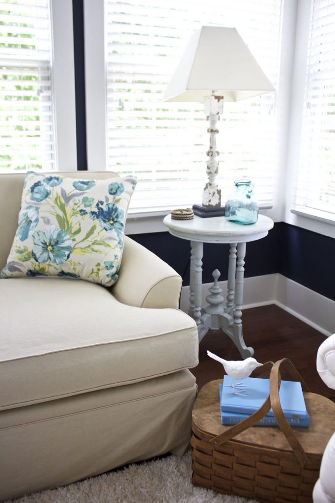 Sunroom Decor for Summer. Navy, Turquoise and Aqua are perfect for summer decor.