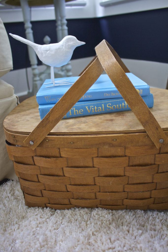 Sunroom decor for summer. Vintage split oak basket is perfect decor for summer.