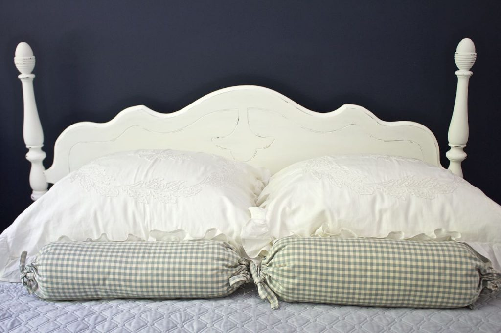 Chalk Painted Headboard - Cottage Style. Lake house style headboard.