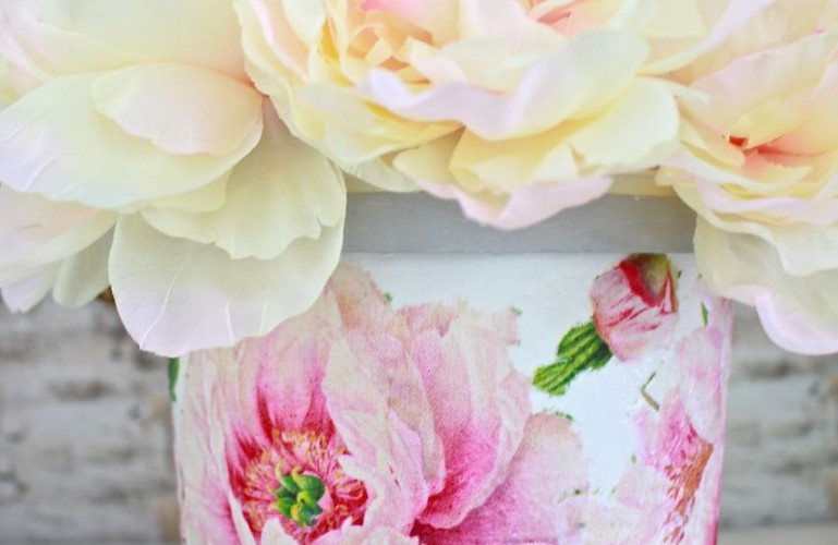 Plastic Bucket Transformation with Decoupage Peonies