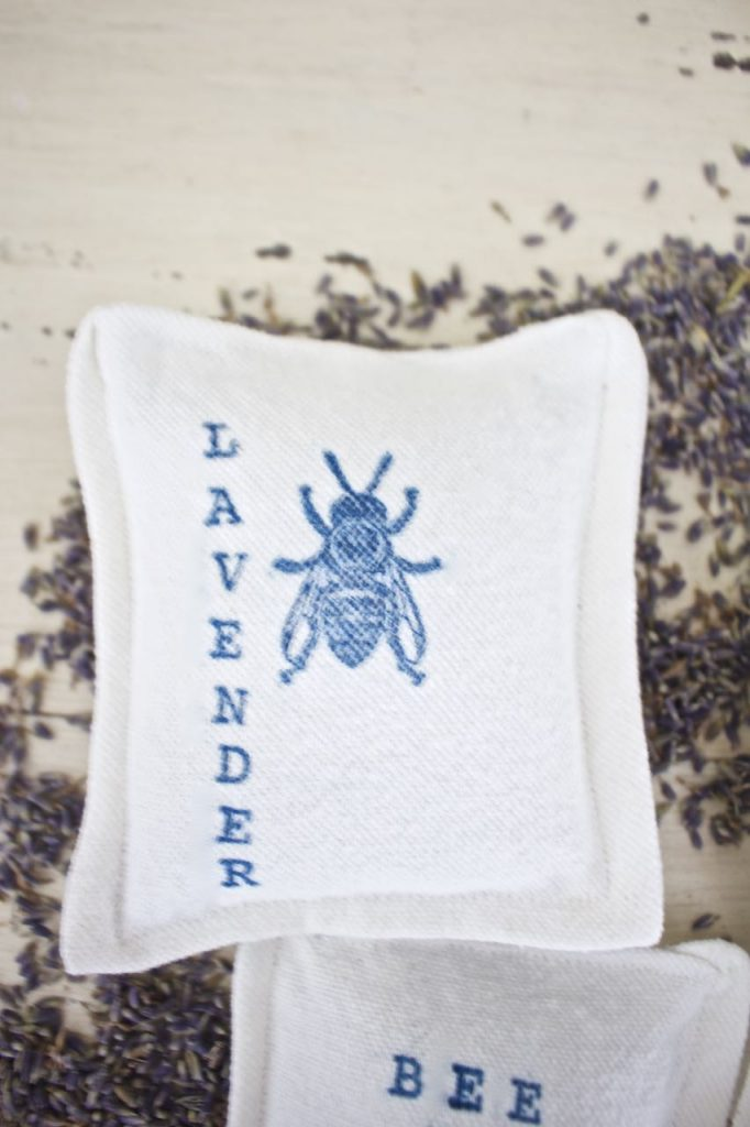 Lavender Dryer Sachet. Hand stamped dryer sachet bags with bee and graphics