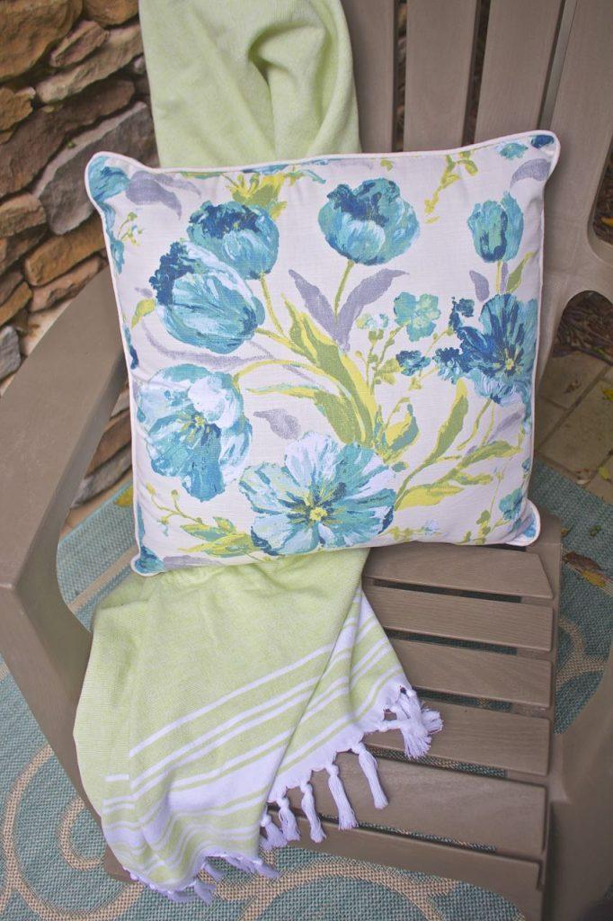 Summer garden and porch tour. Colorful pillow.