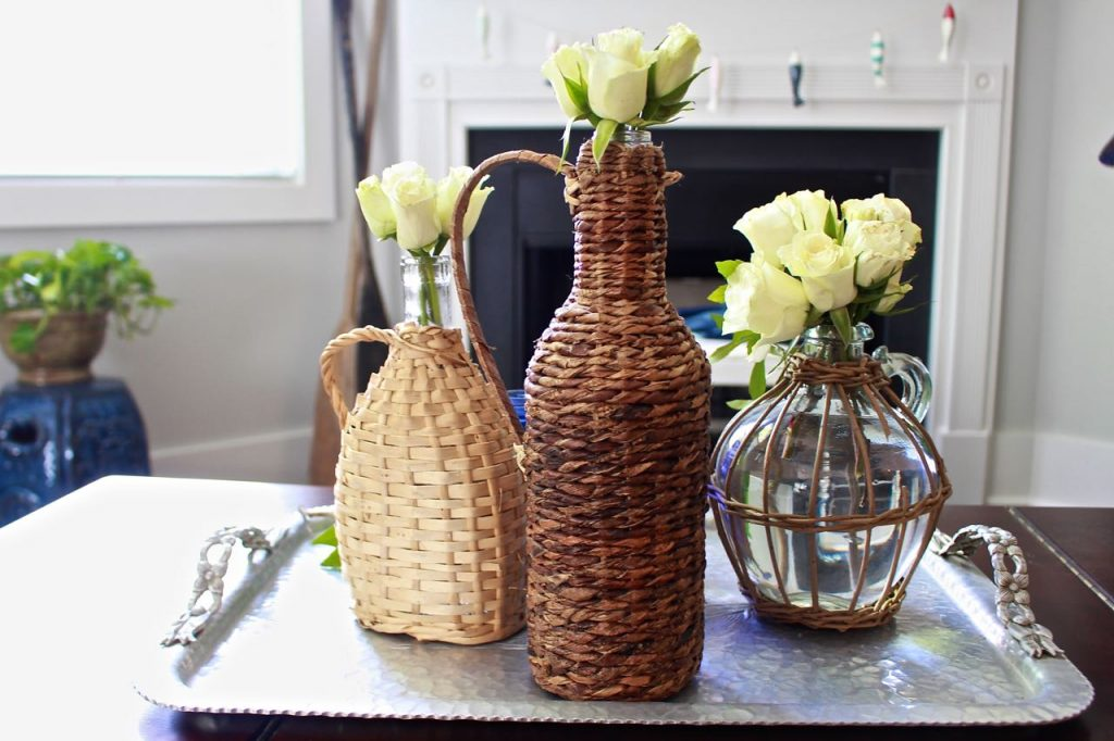 Wicker Demijohn Bottles. Textured bottles look great in home decor.