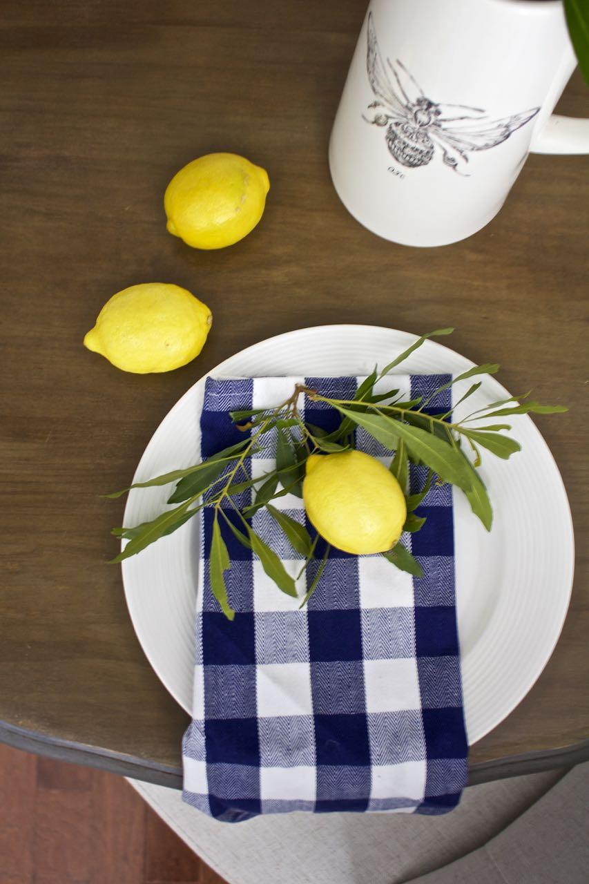 Dining Room Table Makeover. Buffalo check napkin blue and white. lemons.
