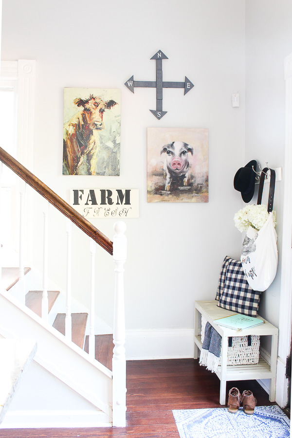 Entryway decorated in farmhouse decor