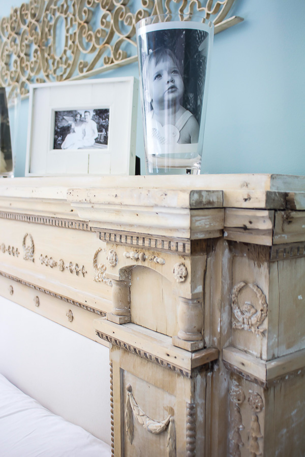 beautiful details on fireplace mantel headboard