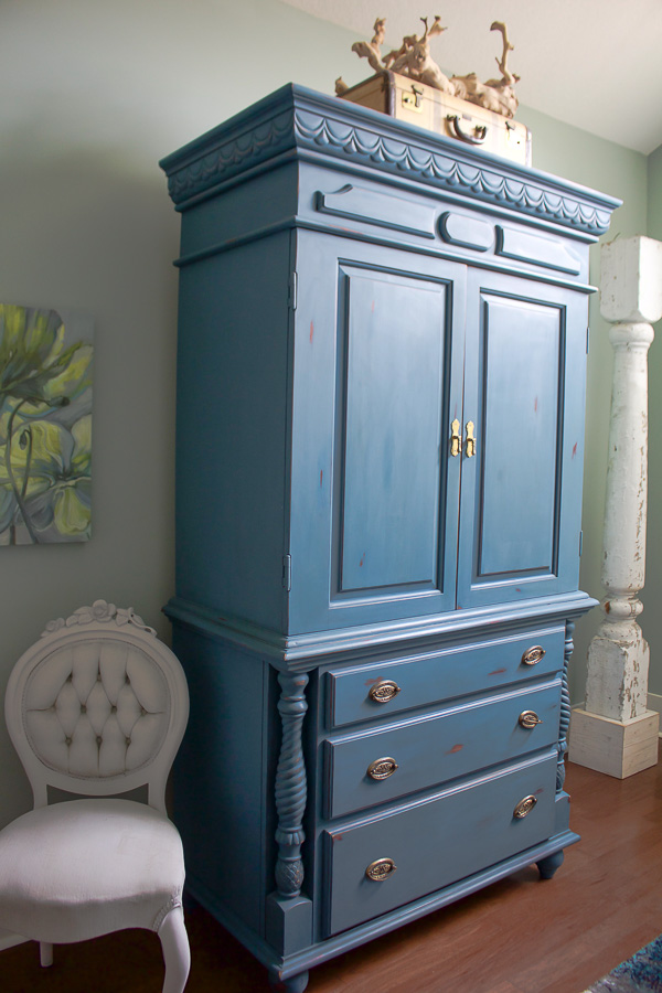 aubusson blue chalk painted armoire