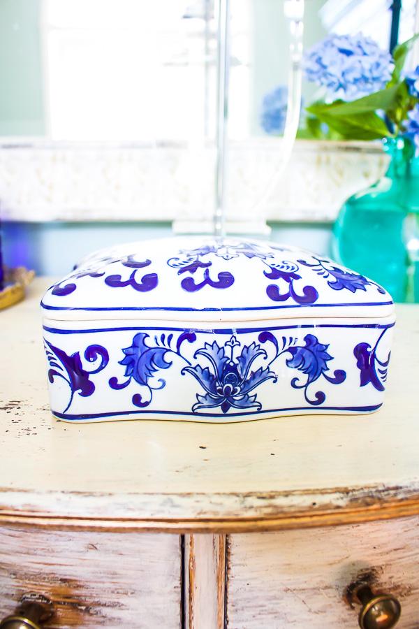 Master bedroom blue and white ceramic dresser tray-1