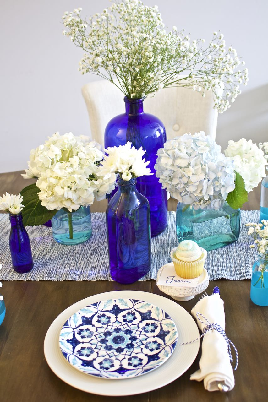 Shades of Blue Summer Tablescape 2