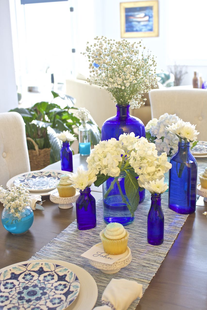 Shades of Blue Summer Tablescape 4