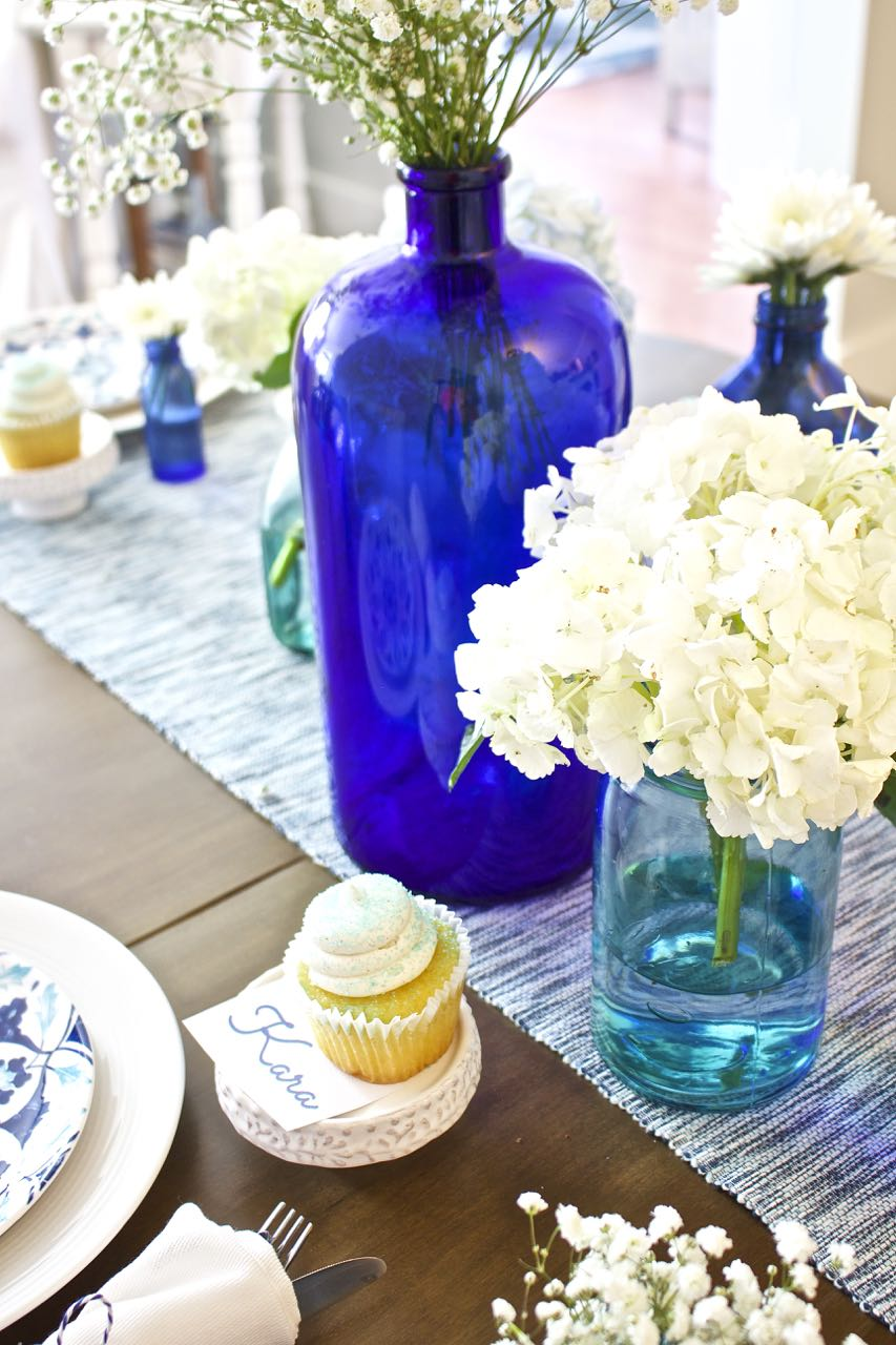 Shades of Blue Summer Tablescape 5