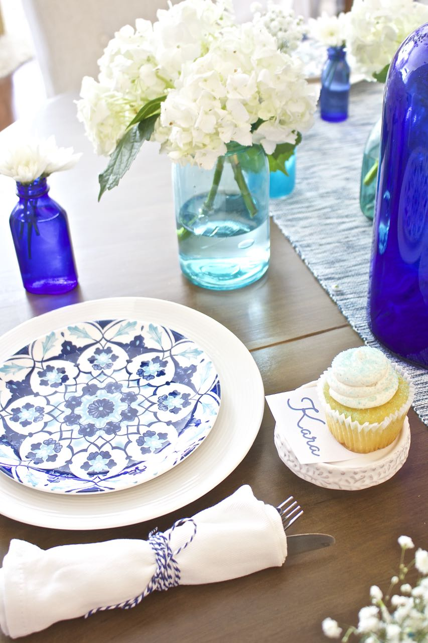 Shades of Blue Summer Tablescape 6