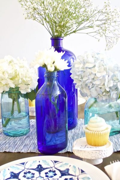 Shades of Blue Summer Tablescape – Back to Basics