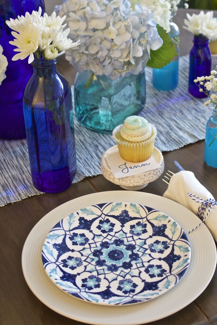 Shades of Blue Summer Tablescape - Back to Basics
