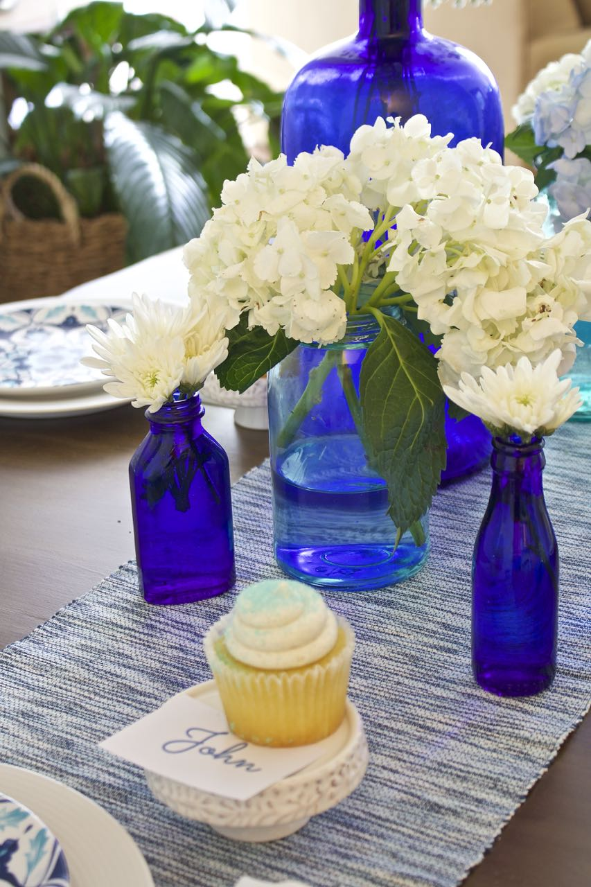 Shades of Blue Summer Tablescape. Cobalt blue glass look beautiful with the summer sunshine light.
