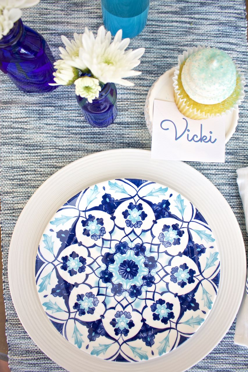 Shades of Blue Summer Tablescape. Purchase dishes and plates when on clearance.