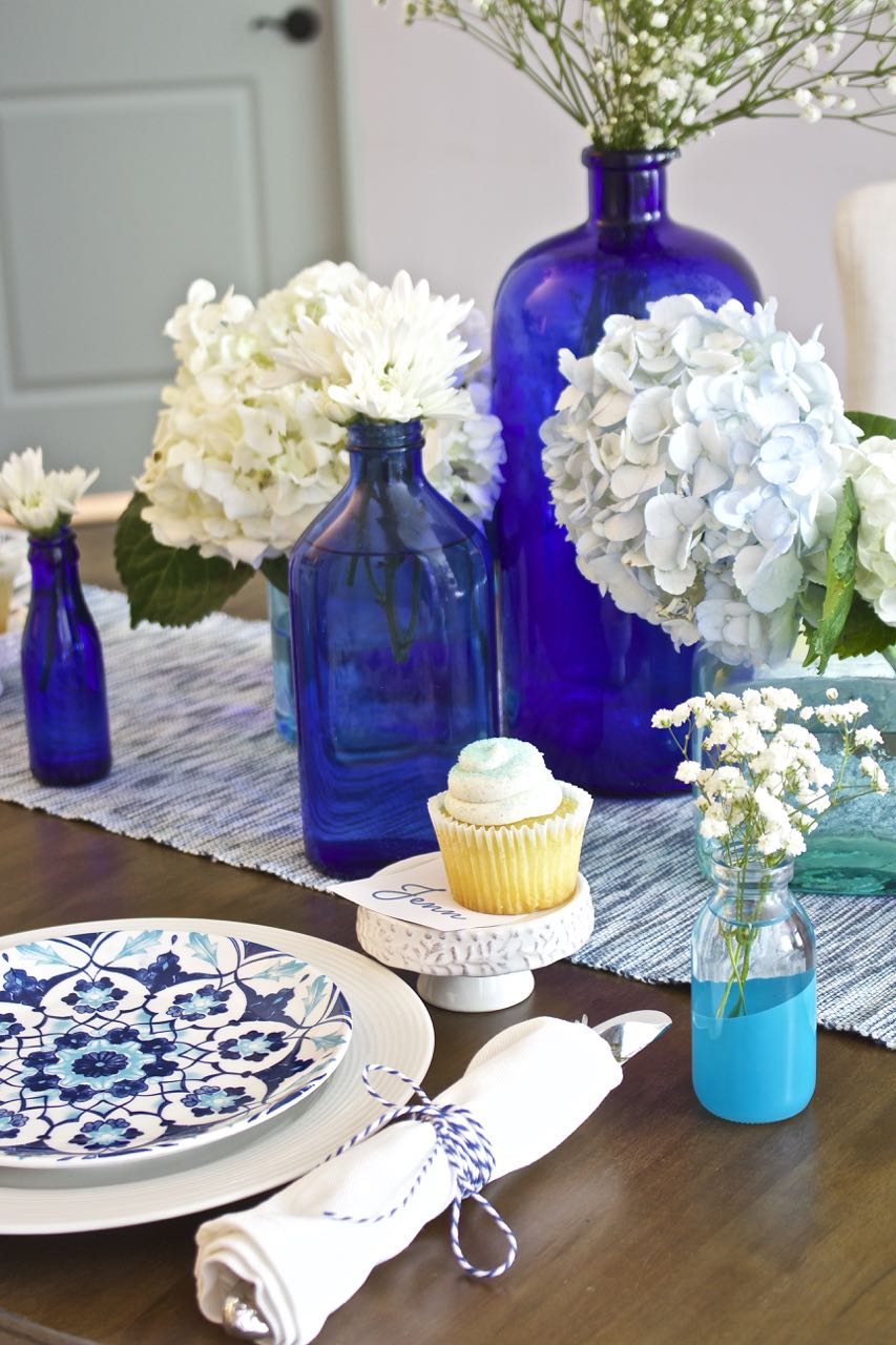 Shades of Blue Summer Tablescape