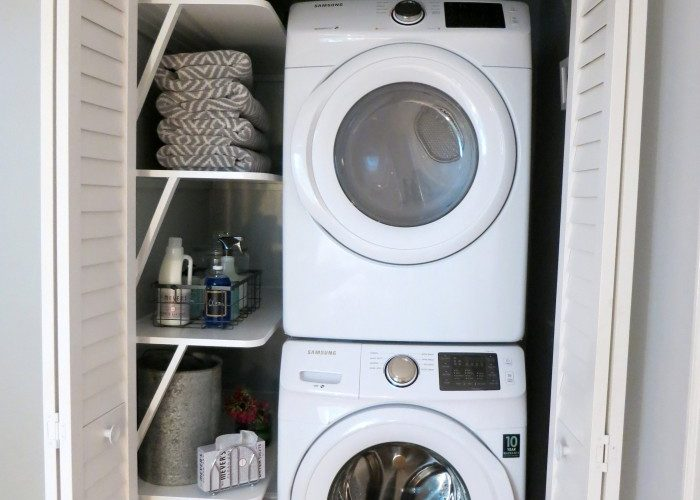 Small laundry room ideas. Add personality to a small closet space.