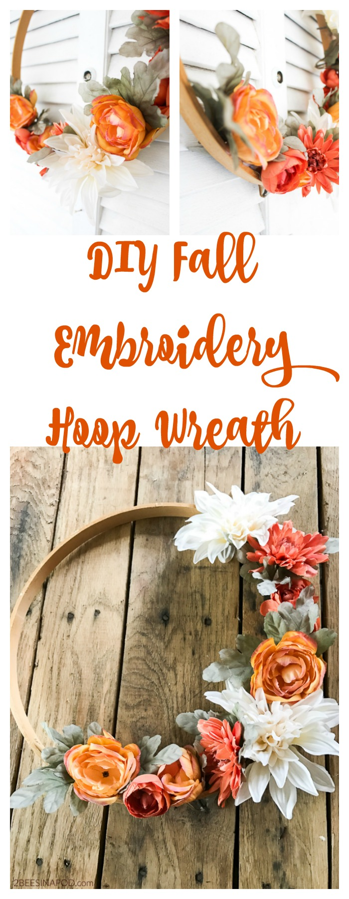 How to make your own Fall wreath using an embroidery hoop.